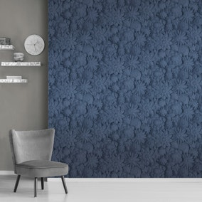 Dimensions Floral Navy Wallpaper