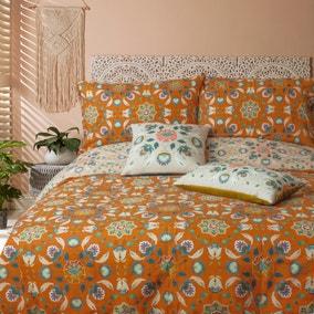 Folk Floral Print Cushion