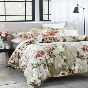 Avery Green Odette Floral Natural 100% Cotton Sateen Duvet Cover and Pillowcase Set