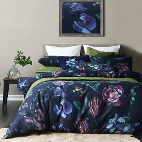 Avery Green Sinama Floral Navy 100% Cotton Sateen Duvet Cover and Pillowcase Set