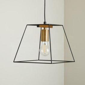 Nella 1 Light Black Pendant Ceiling Fitting