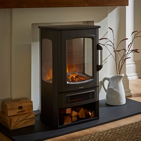 Black Stove with 3 Sided View and Log Store