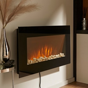 Wall Mounted Electric Fire with Pebbles