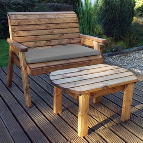 Charles Taylor 2 Seater Wooden Bench with Grey Seat Pad
