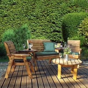 Charles Taylor 4 Seater Conversation Set with Green Seat Pads