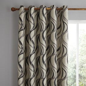 Mirage Charcoal Eyelet Curtains