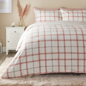 Elouise Pink Brushed Cotton Duvet Cover and Pillowcase Set