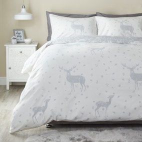 Fawn Grey Brushed Cotton Duvet Cover and Pillowcase Set