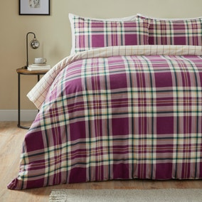 Rue Purple Brushed Cotton Duvet Cover and Pillowcase Set