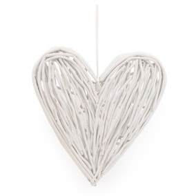 Small White Wicker Hanging Heart