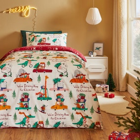 Driving Home For Christmas Reversible Duvet Cover and Pillowcase Set