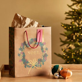 Winter Solstice Large Craft Merry Christmas Wreath Gift Bag
