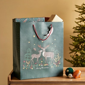 Winter Solstice Extra Large Stag Couple Scene Gift Bag