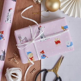6m Extra Wide Pink Dogs Wrapping Paper