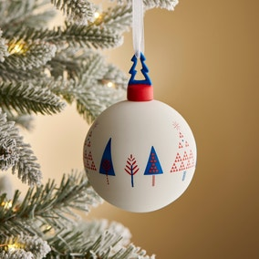 Red Decal Glass Bauble with Tree Topper