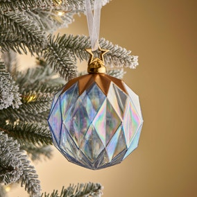 Blue Iridescent Facet Bauble with Gold Star Topper