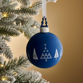 Blue Decal Glass Bauble with Tree Topper
