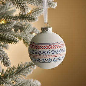 Nordic Red Decal Glass Bauble