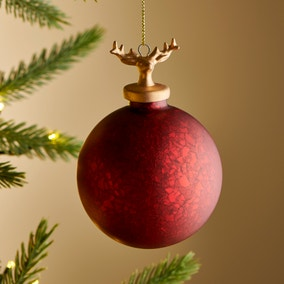 Red Glass Bauble with Gold Stag Cap