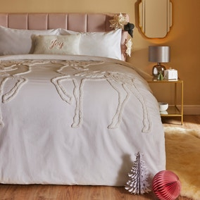White Tufted Reindeer 100% Cotton Duvet Cover and Pillowcase Set