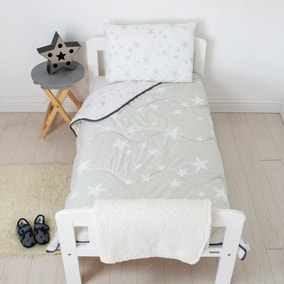 Coverless Grey Stars 4 Tog Cot Bed Duvet and Pillow Set
