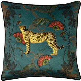 Tropica Cheetah Cushion Teal