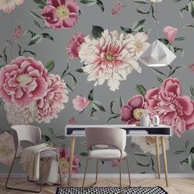 Vintage Floral Grey Mural