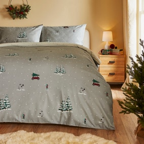Snowy Scene Brushed Cotton Reversible Duvet Cover and Pillowcase Set