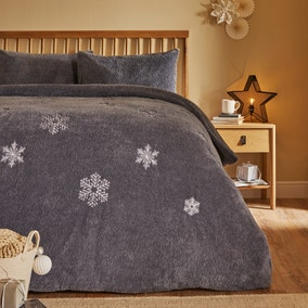 Snowflake Embroidered Duvet Cover and Pillowcase Set