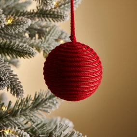 Red Cord and Tinsel Decoration