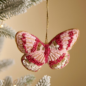 Pink and Gold Beaded Butterfly Hanging Ornament