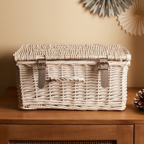 White XL Hamper With Lid