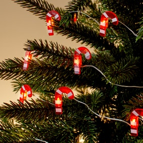 20 Warm White Candy Cane Detail LED Lights