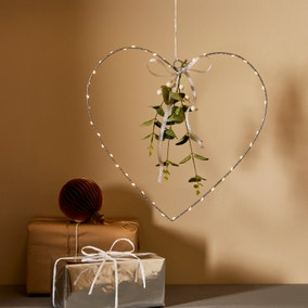 Silver Heart Light Up Hanging Decoration