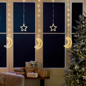 Star and Moon Curtain Lights