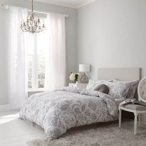 Holly Willoughby Ayana Grey 100% Brushed Cotton Reversible Duvet Cover and Pillowcase Set