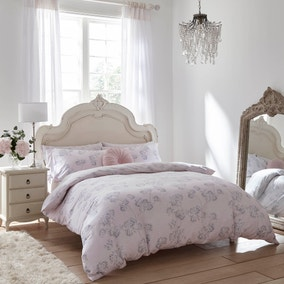 Holly Willoughby Adeline Blush 100% Brushed Cotton Reversible Duvet Cover and Pillowcase Set