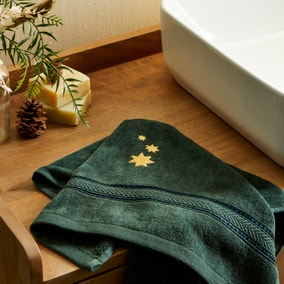 Stars 100% Cotton Forest Green Hand Towel
