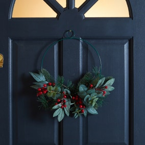 Red Berry Metal Frame Wreath