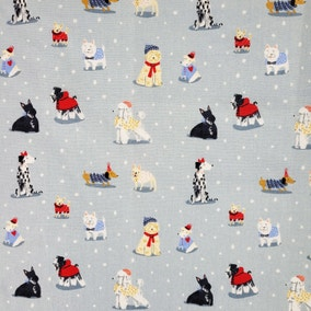 Christmas Dogs Blue 2M Fabric Pack