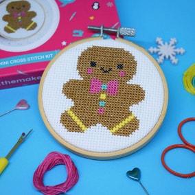 The Make Arcade Gingerbread Person Mini Cross Stitch