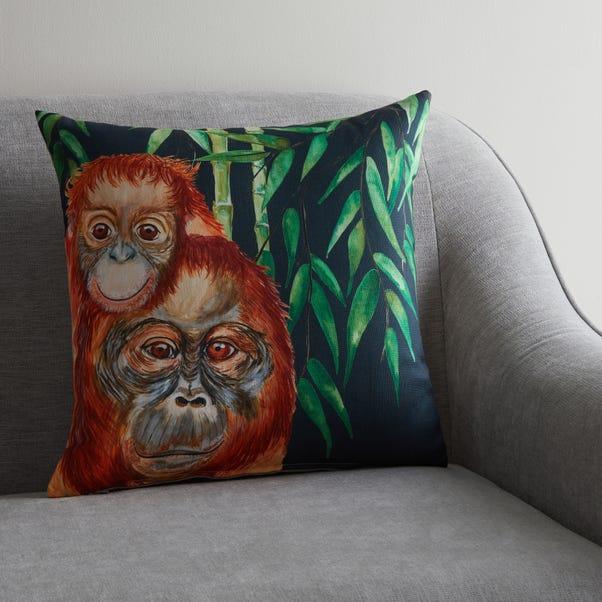 Orangutan Jungle Print Cushion MultiColoured undefined