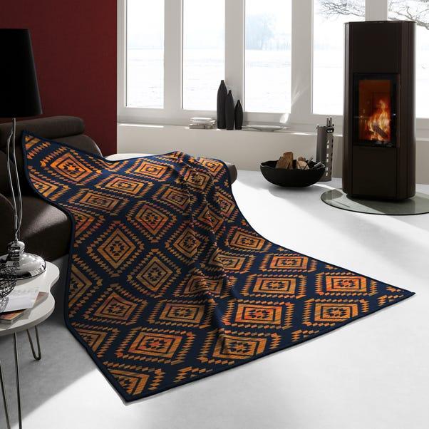 Thermosoft Ethno Shade Orange Blanket Navy (Blue)