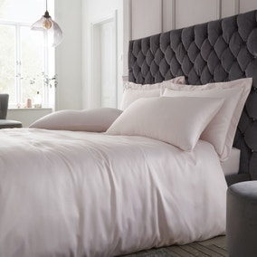 Catherine Lansfield Silky Soft Satin Blush Duvet Cover and Pillowcase Set