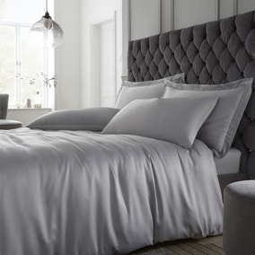 Catherine Lansfield Silky Soft Satin Silver Duvet Cover and Pillowcase Set