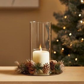 Twig and Berries Glass Pillar Holder