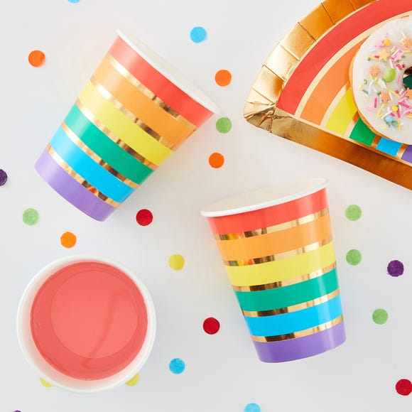 Ginger Ray Set of 8 Rainbow Cups  MultiColoured
