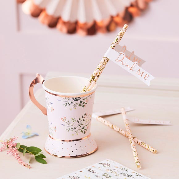 Ginger Ray Pack of 20 Floral Straws Light Pink