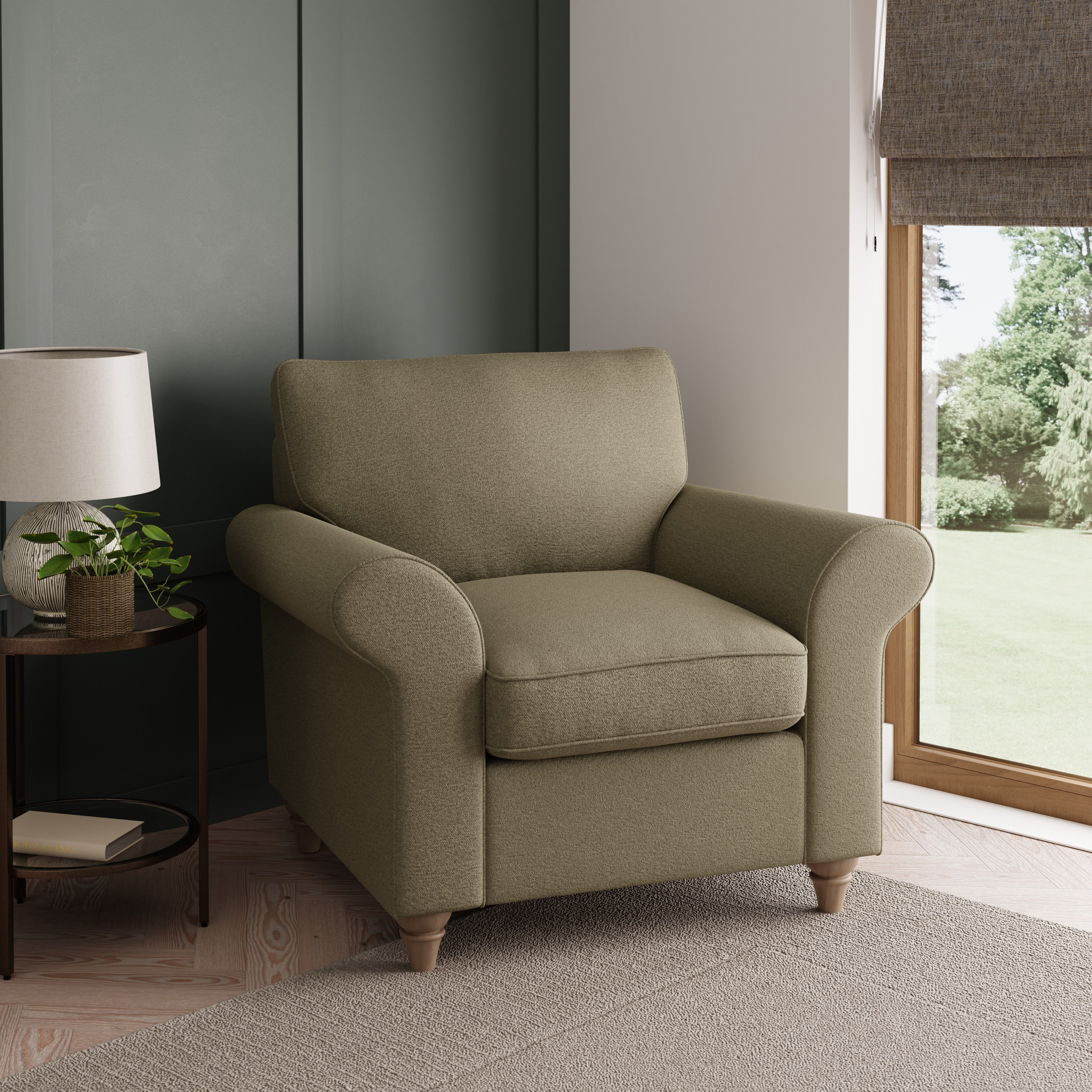 Rosa Fabric Armchair Olive (Green)