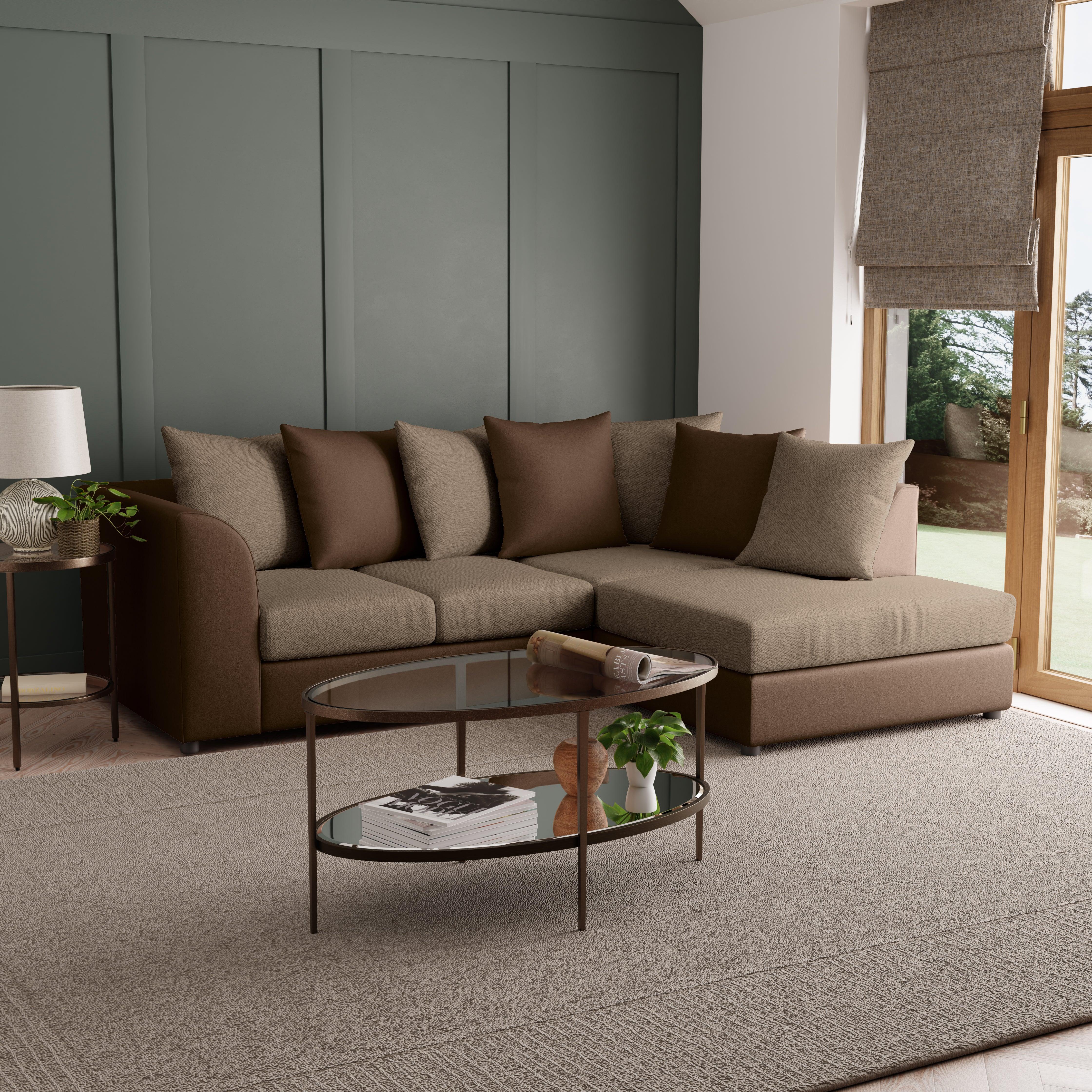 Blake Fabric Combo Right Hand Corner Sofa Chocolate (Brown)